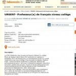 フランス・サンドニの中学校が、Le Bon Coinでフランス語の先生探し